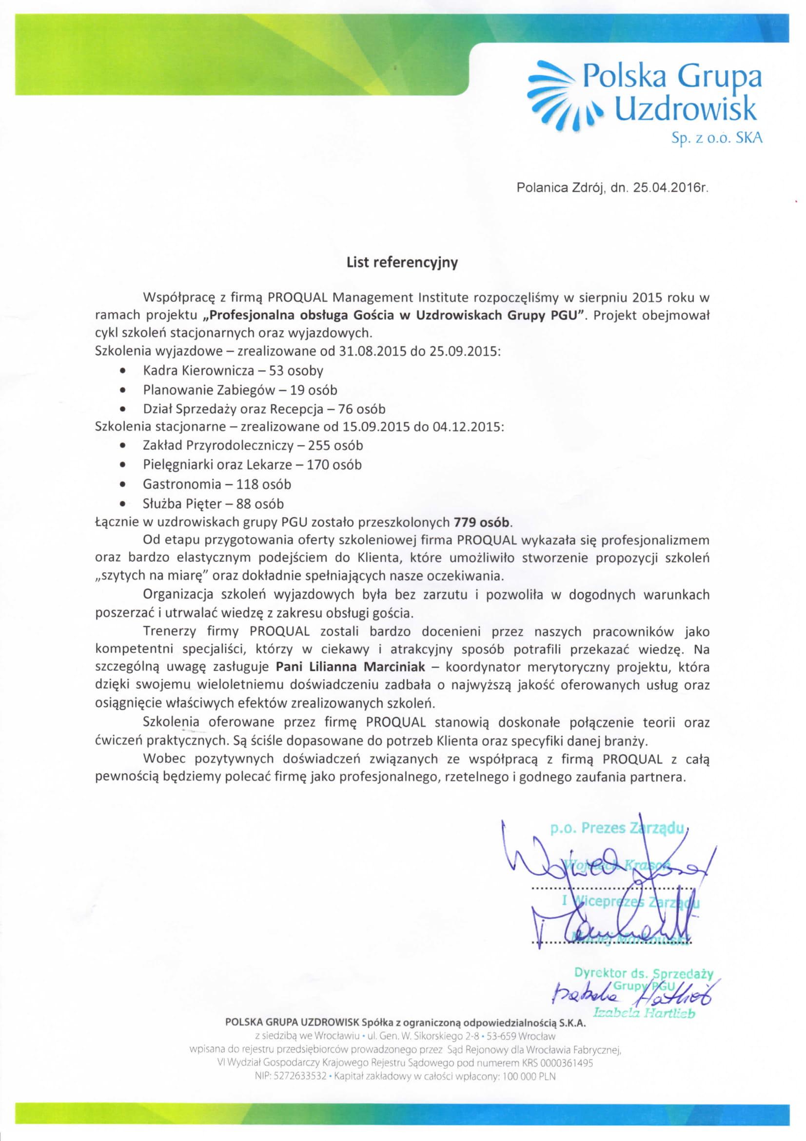 List referencyjny PGU