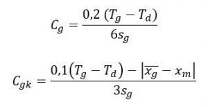 Cg=(0,2(Tg-Td))/6Sg, Cgk=(0,1(Tg-Td)- |śr. Xg-xm|)/3Sg