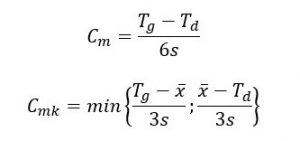 Cm=(Tg-Td)/6s, Cmk=min{(Tg-śr.x)/3s;(śr.x-Td)/3s}