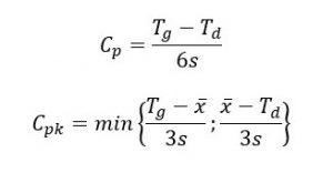 Cp=(tg-Td)/6s; Cpk=min{(Tg-śr.x)/3s;(śr. x-Td)/3s}